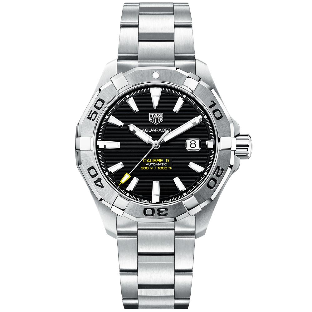 Tag heuer aquaracer calibre 5 300m black dial men 39 s automatic watch for The tag heuer aquaracer