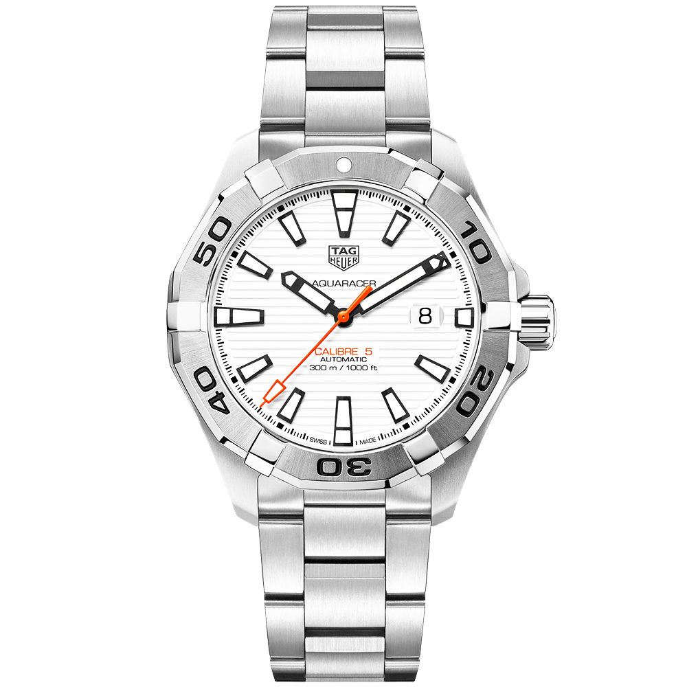 Tag heuer aquaracer calibre 5 white opalin dial men 39 s automatic watch for The tag heuer aquaracer