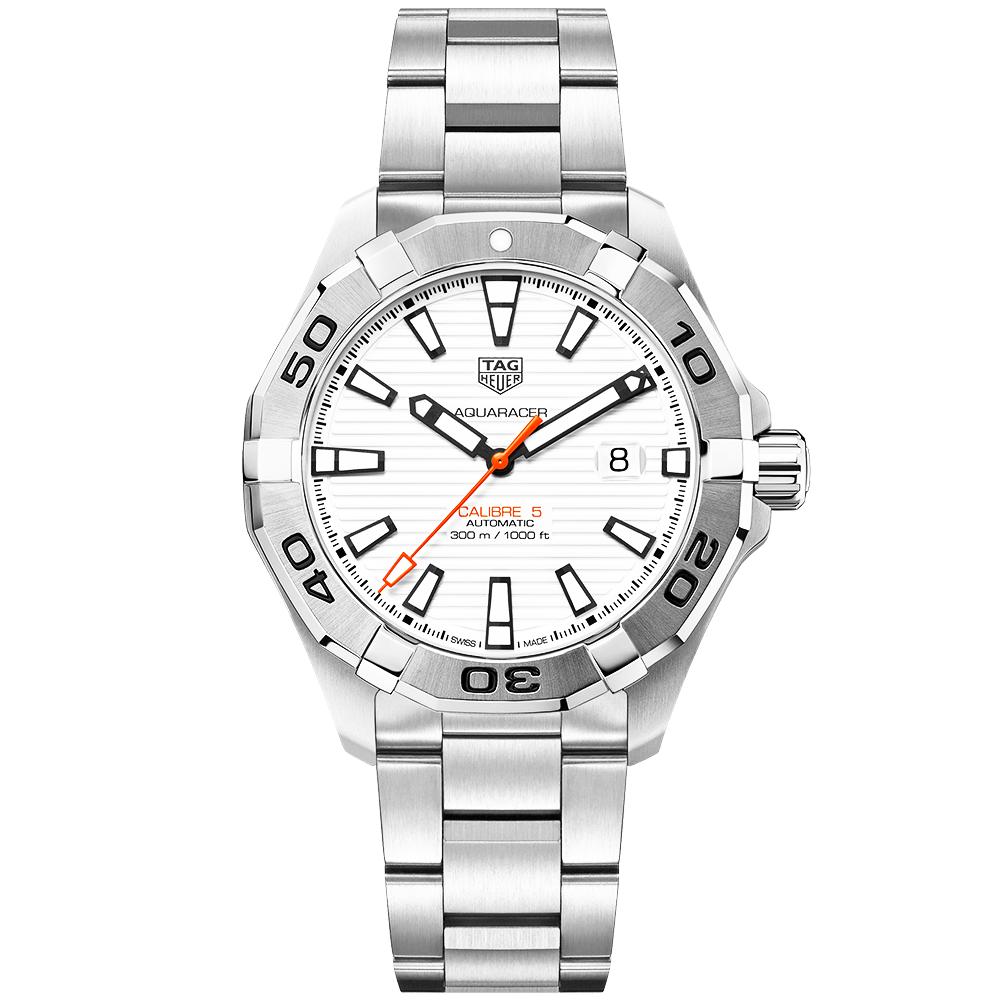 6423632d7fe13 TAG Heuer TAG Heuer Aquaracer Calibre 5 White Opalin Dial Men s Automatic  Bracelet Watch