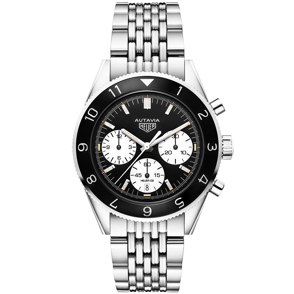 b15e3ba66 Autavia 42mm Panda Dial Men's Automatic Chronograph Bracelet Watch