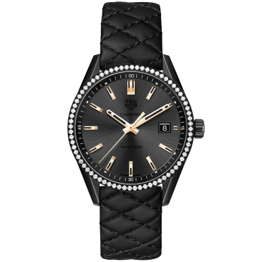 Carrera 39mm Black Titanium Coated & Diamond Bezel Strap Watch