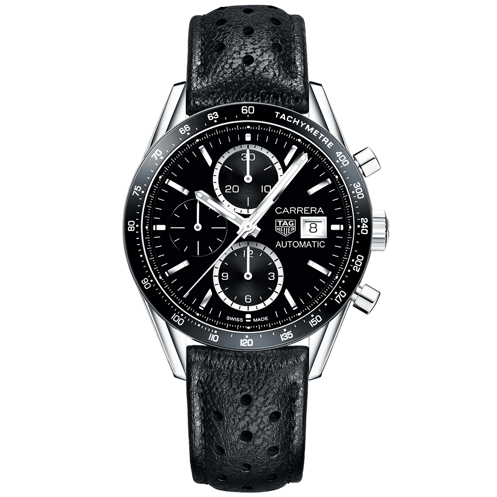 fd9228f70 TAG Heuer Carrera 41mm Black Dial & Leather Strap Chronograph ...