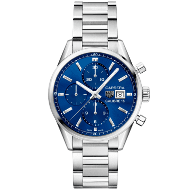 d631aee170b Carrera 41mm Steel Blue Dial Automatic Men s Chronograph Watch New In