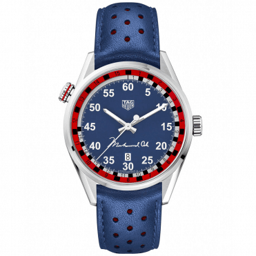 Carrera 43mm Blue Dial & Leather Strap Muhammad Ali Edition Watch
