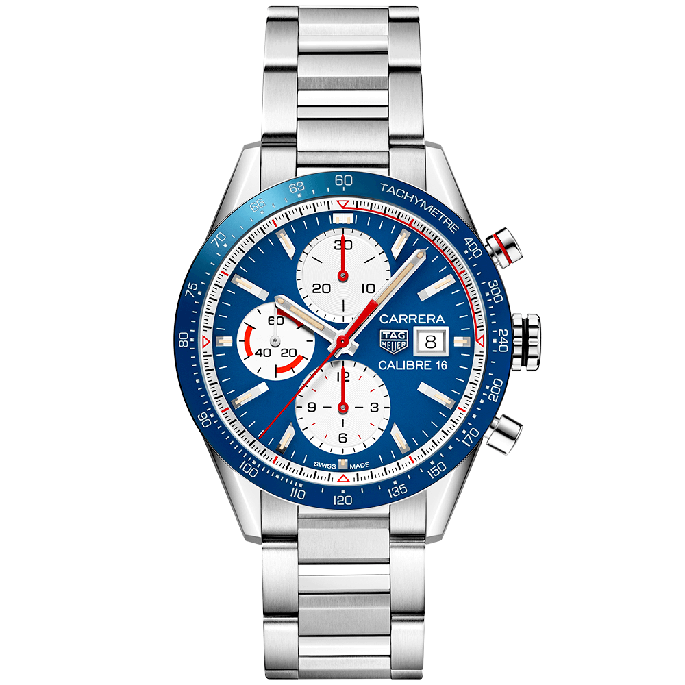 691aa87fd62a5 Carrera Calibre 16 41mm Blue White Dial Automatic Chronograph Watch