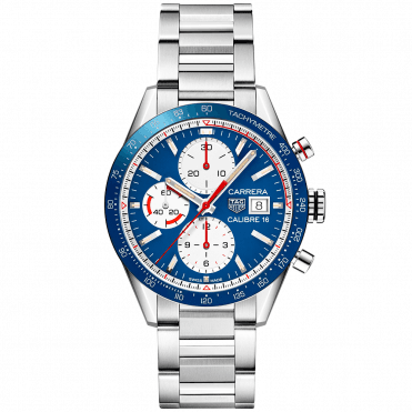 Carrera Calibre 16 41mm Blue/White Dial Automatic Chronograph Watch