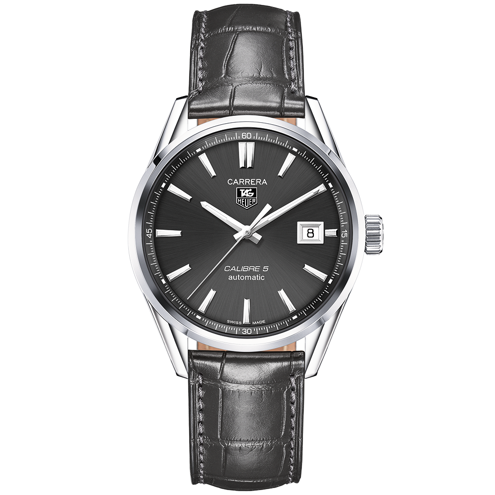 d1bd5a11f531 TAG Heuer TAG Heuer Carrera Calibre 5 Automatic Anthracite Dial   Strap  Men s Watch