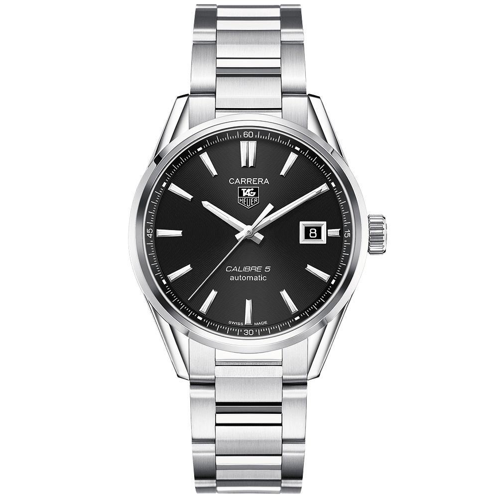 59a585a552905 TAG Heuer Carrera Calibre 5 Automatic Black Dial Men s Bracelet Watch