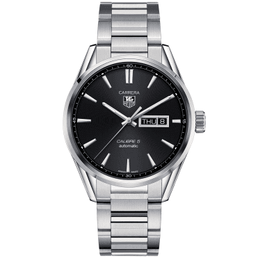 Carrera Calibre 5 Day-Date Black Dial Men's Bracelet Watch