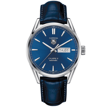 Carrera Calibre 5 Day/Date Blue Dial Men's Leather Strap Watch