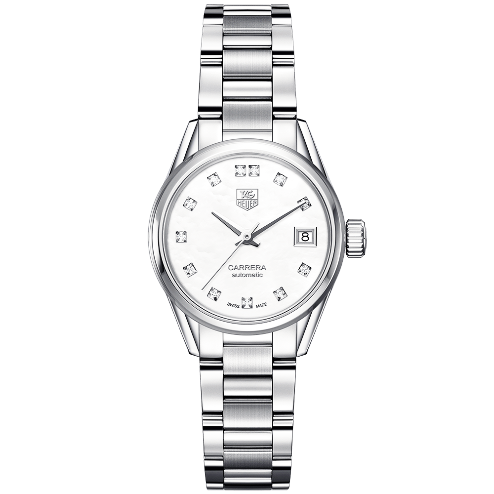 Carrera Calibre 9 White Diamond Set Dial Stainless Steel Watch
