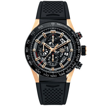 Carrera HEUER 01 Black Titanium & 18ct Rose Gold Chronograph Watch