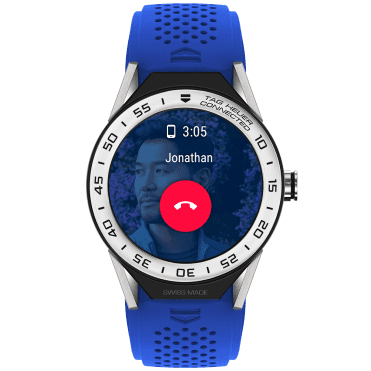 Connected Modular 45 Steel Bezel & Electric Blue Rubber Strap Watch
