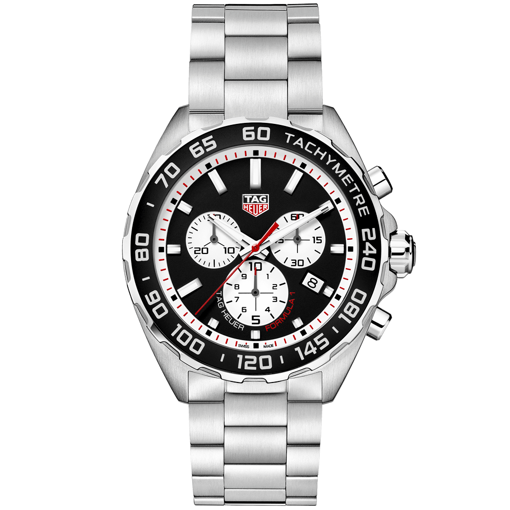 5e9488dd7be TAG Heuer TAG Heuer Formula 1 43mm Black/Silver Dial Men's Chronograph  Bracelet Watch
