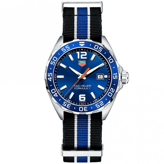 Tag Heuer Formula 1 43mm Blue Dial Amp Nato Strap Watch