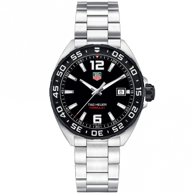 Tag heuer formula 1 black dial bezel men 39 s bracelet watch for Men decagonal bezel bracelet