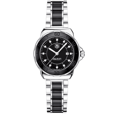 Formula 1 Steel & Black Ceramic Bezel Ladies Quartz Watch