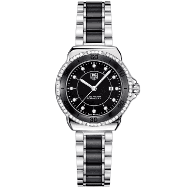 Formula 1 Steel & Black Ceramic Diamond Set Bezel & Dial Watch