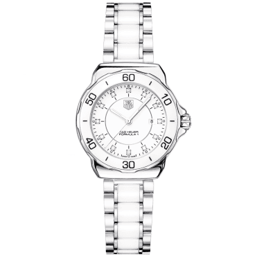 Formula 1 Steel & White Ceramic Bezel Ladies Quartz Watch