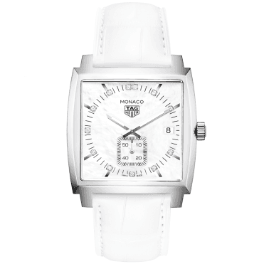 Monaco 37mm White Mother of Pearl Dial Ladies Leather Strap Watch