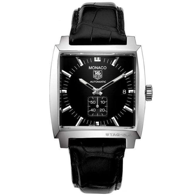 TAG Heuer Monaco Calibre 6 Stainless Steel & Black Leather Strap Watch