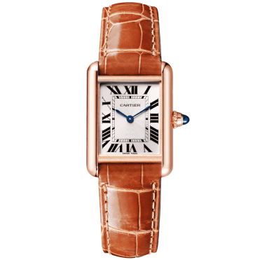 Tank Louis Cartier 18ct Pink Gold Small Model Leather Strap Watch
