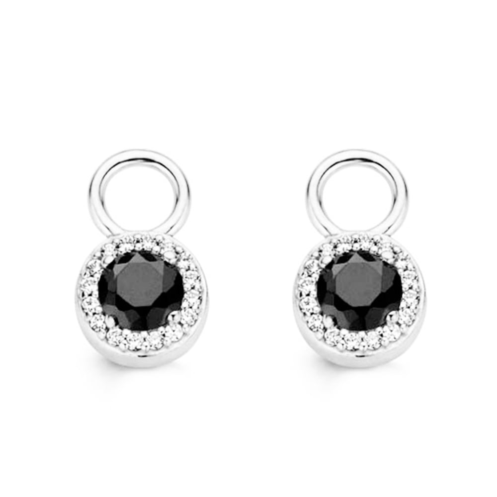 ti sento black zirconia cluster surround ear charms from