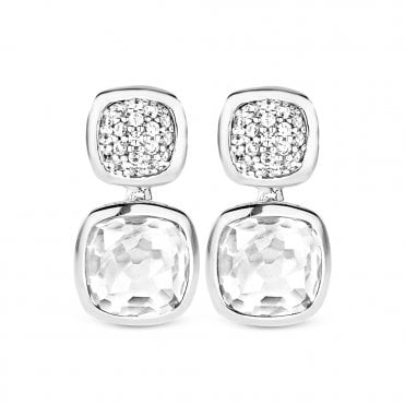 Pave Zirconia Crystal Set Cabachon Drop Earrings