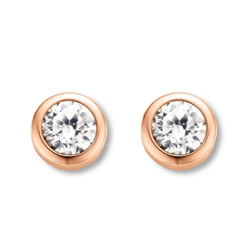 Ti Sento Rose Gold Plated White Zirconia Rub-Over Stud Earrings ...