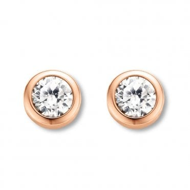 Rose Gold Plated White Zirconia Rub-Over Stud Earrings