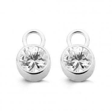 Silver & Cubic Zirconia Rubover Ear Charms