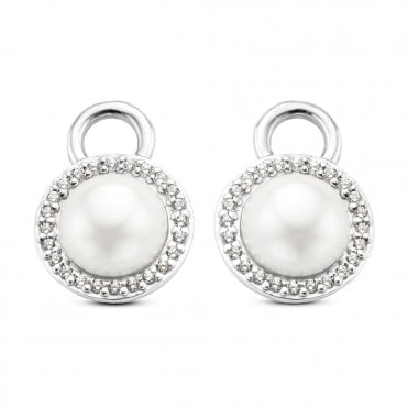 Silver White Pearl & White Zirconia Circular Ear Charms