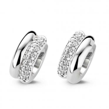 Silver White Zirconia and Plain Small Hoop Earrings