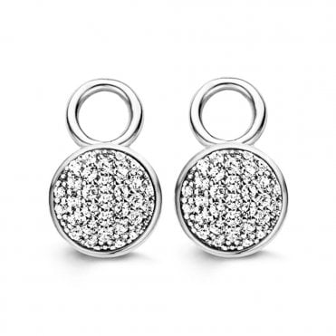 Silver White Zirconia Pave Set Earcharms
