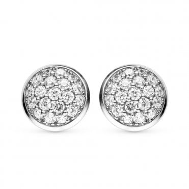 Silver White Zirconia Pave Set Stud Earrings