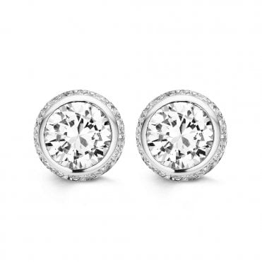 Silver White Zirconia Rub-Over Stud Earrings with Zirconia Surround