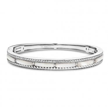 Sterling Silver Mother of Pearl Twist & Zirconia Bangle