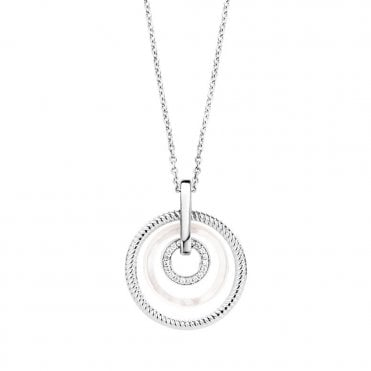 Sterling Silver Mother of Pearl & Zirconia Tree Circle Necklace
