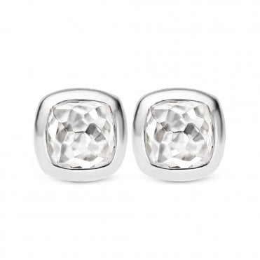 Sterling Silver & White Cabachon Stone Stud Earrings