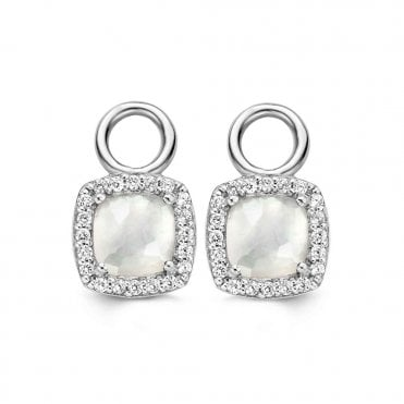 Sterling Silver White Mother of Pearl & Zirconia Ear Charms