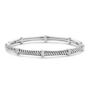 Sterling Silver Zirconia Set Bangle