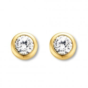 Yellow Gold Plated White Zirconia Rub-Over Stud Earrings
