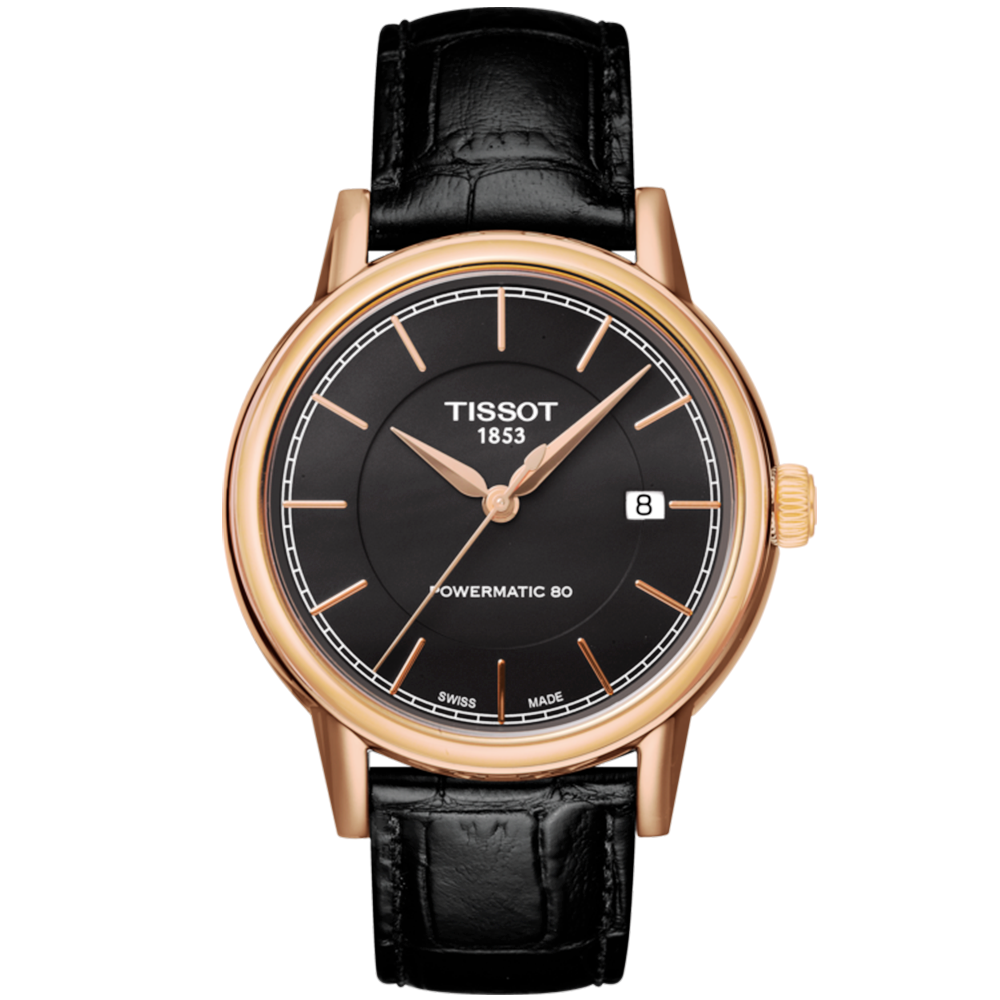 Tissot carson 40mm rose gold pvd black dial men 39 s automatic watch for Celebrity tissot watch