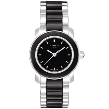 Cera Stainless Steel and Black Ceramic Ladies Watch
