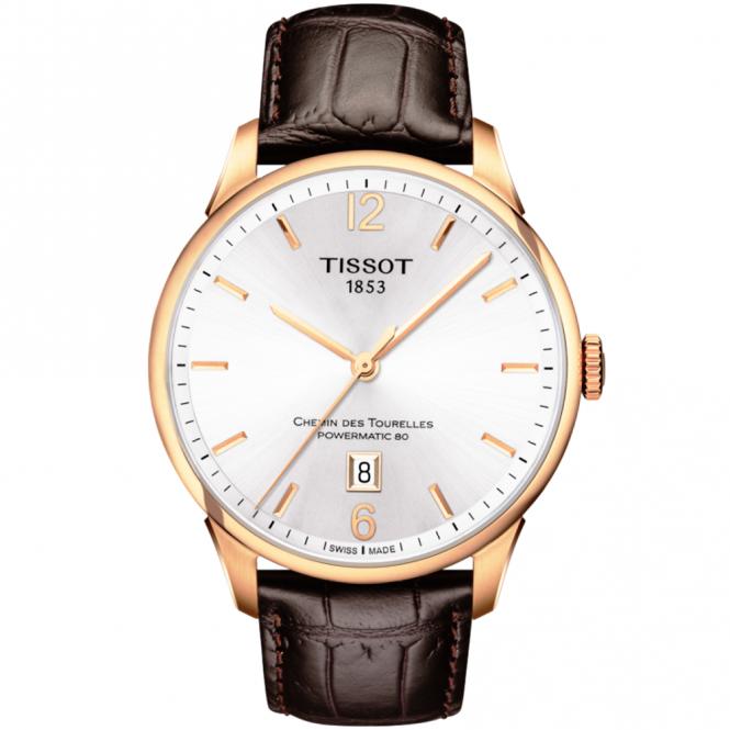Tissot chemin des tourelles rose gold pvd silver dial watch for Celebrity tissot watch