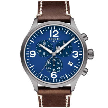 Chrono XL 45mm Blue Dial & Leather Strap Men's Chronograph Watch