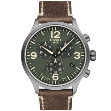Chrono XL 45mm Green Dial & Leather Strap Men's Chronograph Watch