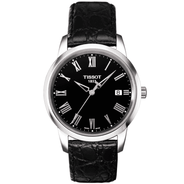 Classic Dream 38mm Black Roman Dial & Leather Strap Watch