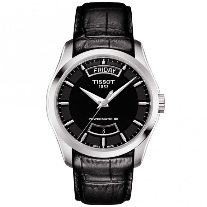 c7a31bfeac8 tissot couturier 39mm black day date dial leather strap watch.  BERRYSJEWELLERS