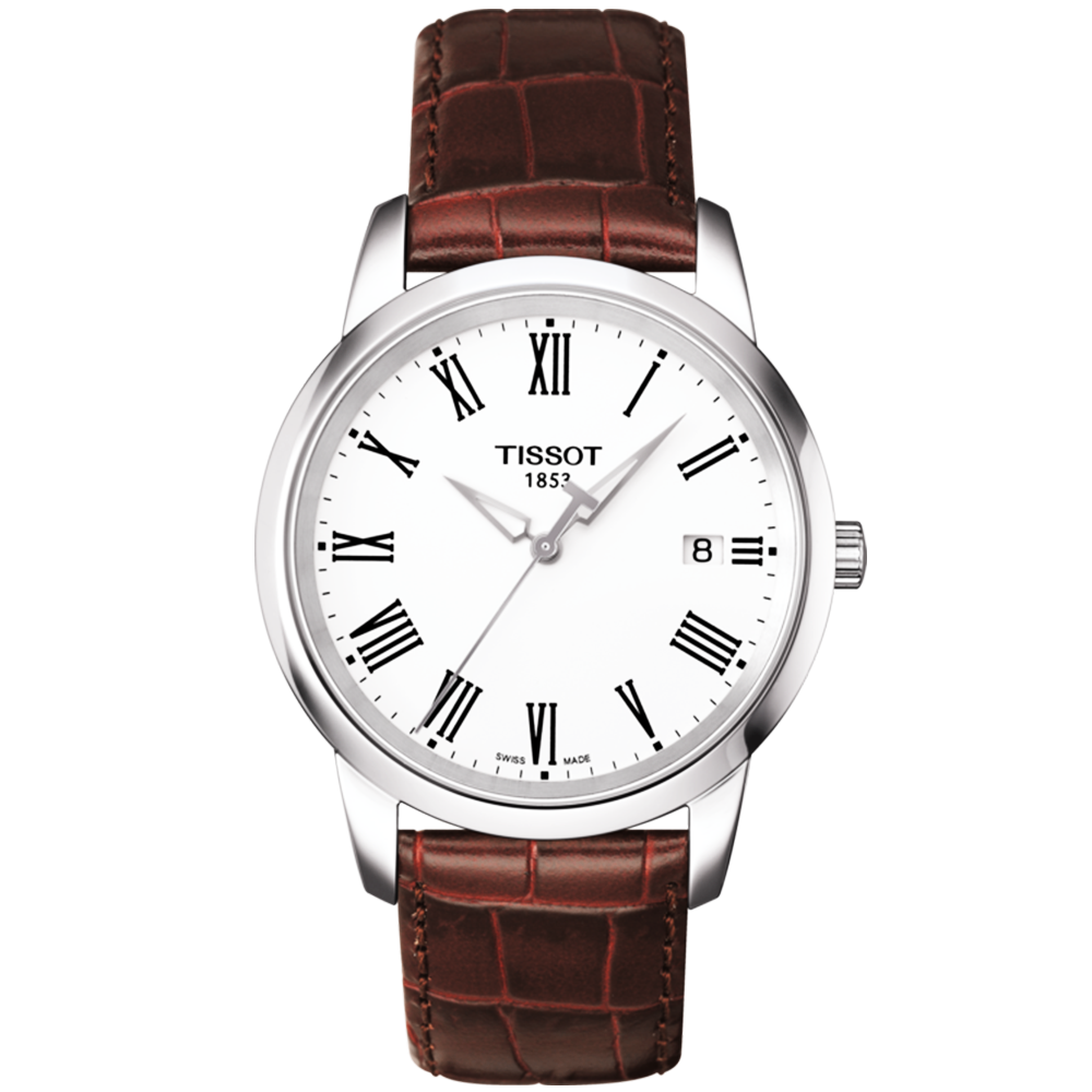 Tissot dream 38mm steel white roman dial leather strap watch for Celebrity tissot watch